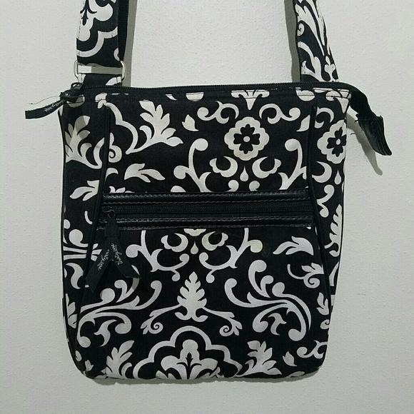 Vera Bradley Handbags - Vera Bradley Crossbody Purse Black White Floral